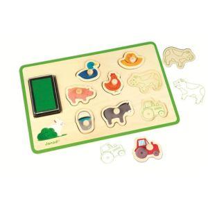 Janod Puzzle tampon Ferme 8 pièces