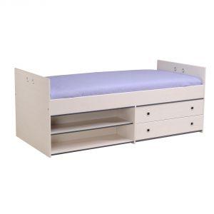 Last Meubles Lit surélevé Zoomy avec tiroirs et étagères en bois (90 x 190 cm)