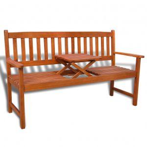 VidaXL Banc de jardin avec table pop-up en bois d'acacia