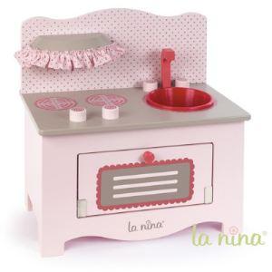 La nina Cuisine en bois rose pour poupée (Petit modèle)