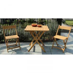 Finlandek Kiva - Set bistrot table + 2 chaises pliantes eucalyptus FSC