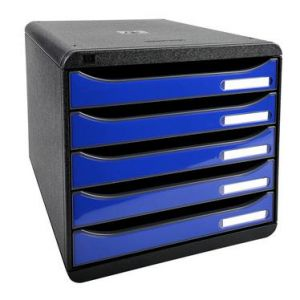 Exacompta 3097203D - BIG-BOX PLUS, coloris noir/bleu royal brillant