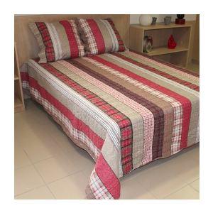 Soleil d'Ocre Couvre-lit boutis matelassé Charlotte avec 2 taies d'oreiller (220 x 240 cm)