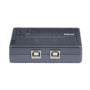 Hama 00042041 - Boîtier de commutation USB 2.0 semi-automatique - 2 USB 'B' - 1 USB 'A'