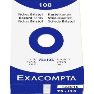 Exacompta 13301E - Etui de 100 fiches bristol 205 g uni non perforées (75 x 125 mm)