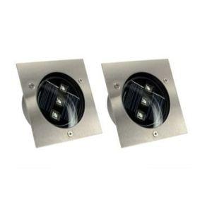 Xanlite 2 spots solaires carrés encastrables 3 leds