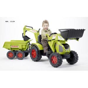 Falk / falquet Tracteur à pédales Claas Axos avec remorque et excavatrice