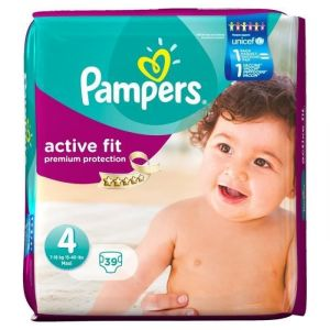 Pampers Active Fit taille 4 7-18 kg - Géant x39 couches