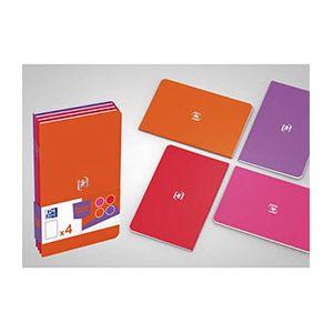 Oxford Pocket Notes agrafé - couverture carte - 9 x 14 cm - 48 pages - ligné 6 mm - assortis féminin - lot de 4