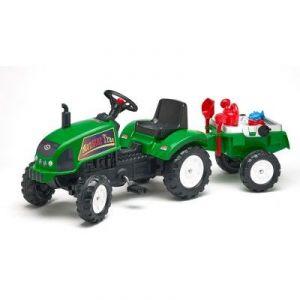 Falk Tracteur à pédales Farmtrac vert avec remorque et accessoires