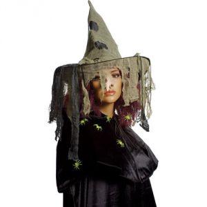 Ptit Clown RE50920 - Chapeau de sorcière tissu voile beige adulte