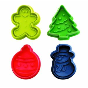 Ibili 4 emporte-pièces Noël avec poussoir