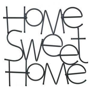 Silhouette Home Sweet home en fer 46 x 46 cm
