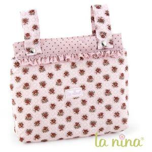La nina Sac pour poussette de poupon rose à fleurs