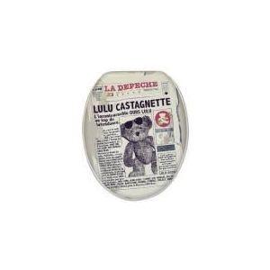 Lulu Castagnette Abattant WC de toilette standard News en bois avec charnières inox