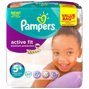 Pampers Active Fit taille 5+ Junior+ (13-27 kg) - Pack économique x 124 couches