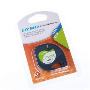 Dymo 91200 - Ruban cassette LetraTag  noir / blanc 12 mm x 4 m.