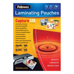 Fellowes Pochettes brillantes 65x95 mm 125µ x 100