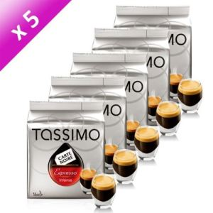 Tassimo 5 paquets de 16 dosettes T-Discs Carte Noire Expresso Intenso