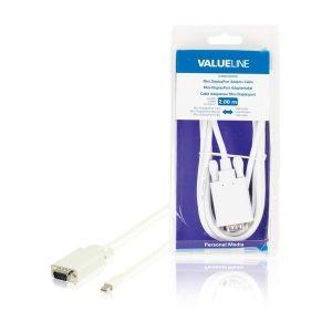 Valueline VLMB37800W20 - Câble adaptateur mini DisplayPort mâle vers VGA mâle blanc 2,00 m
