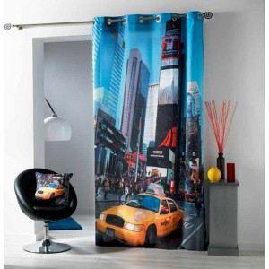 Rideau à oeillets imprimé Taxi (140 x 240 cm)