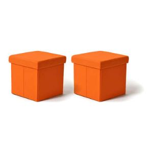 Lot de 2 poufs coffres pliants Happy