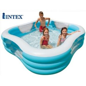 Intex Piscine carrée avec hublot gonflable