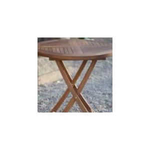 GreenPath Table de jardin ronde pliante Sibolga en teck Ø 75 x 75 cm