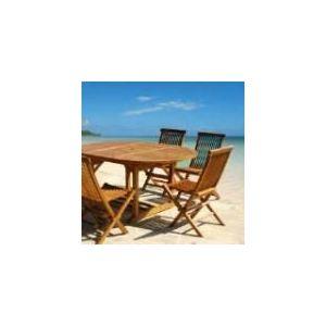 Table de jardin en teck huilé avec 4 chaises pliantes