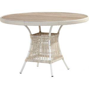 4 Seasons Outdoor Loire - Table de jardin ronde en résine et teck Ø117 cm