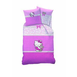 Cti Hello Kitty Astrid - Housse de couette et taie 100% coton (140 x 200 cm)