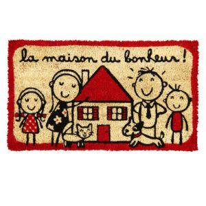 Derrière la porte Paillasson la Maison du Bonheur en coco  (40 x 75 cm)