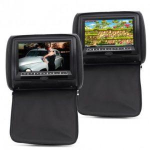 """Appui-tête video 9"""" voiture avec écran et lecteur DVD haut-parleur (lot de 2)"""