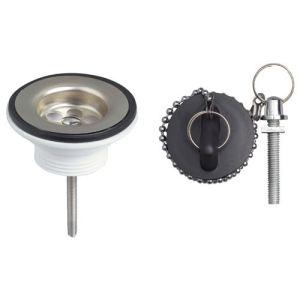 Wirquin SP174 - Bonde de lavabo à bouchon noir