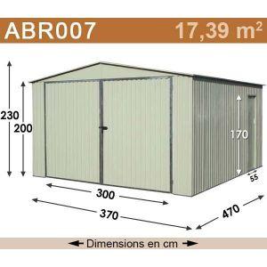Abri de jardin métal 17,39 m2. + kit d'ancrage inclus