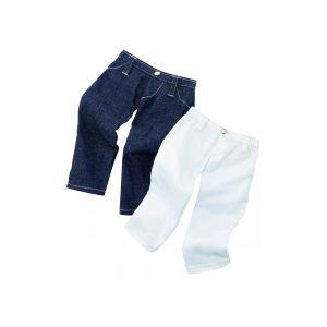 Gotz Lot de 2 pantalons : Jeans et blanc pour poupée