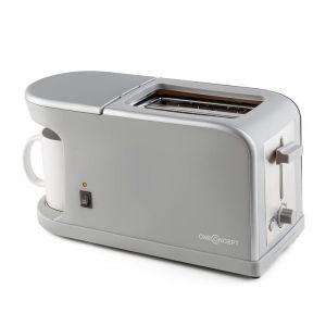 OneConcept Quickie 2-en-1 - Toaster double fente & Mini machine à café avec tasse