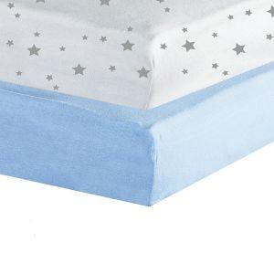 Trois Kilos Sept Lot de 2 draps housse Étoiles 60 x 120 cm