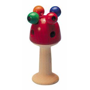 Selecta Hochet en bois Girali forme champignon