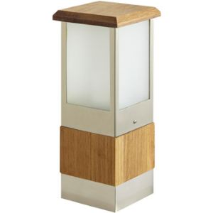 Easy Connect 64250 - Borne lumineuse carrée en teck H 30 cm