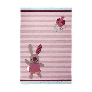 Unamourdetapis Tapis enfant Happy Friends Stripes en acrylique (90 x 160 cm)