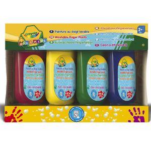 Crayola 4 bidons de peinture au doigt lavable (150 ml)