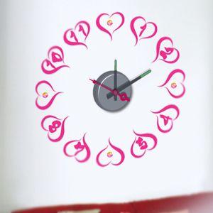 Horloge murale sticker Design Coeurs