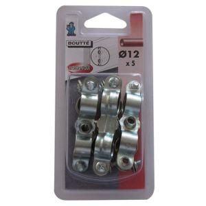 Boutté 1350376 - Collier fixation isophonique double (lot de 5) Ø12 mm - Accessoire pose plomberie