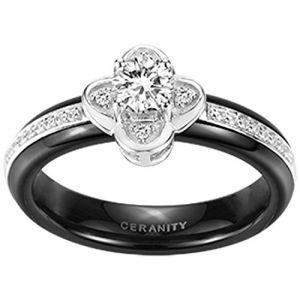 Ceranity 12/0078 N - Bague solitaire en céramique et argent