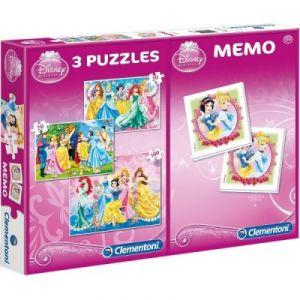 Clementoni 3 puzzles et jeu de mémo Disney Princesses