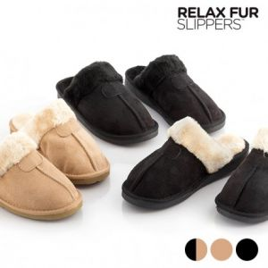 Relax Fur - Chaussons noirs et marrons Taille 40
