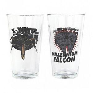 Half Moon Bay 2 verres Star Wars vaisseaux Spatiaux X-Wing et Millenium Falcon