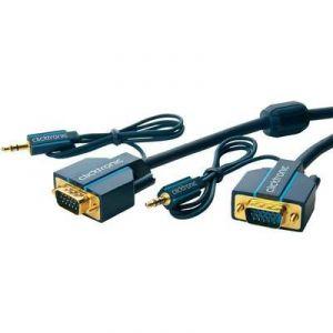 Clicktronic 70134 - Câble VGA mâle, Jack mâle 3.5 mm vers VGA mâle, Jack femelle 3.5 mm 10 m