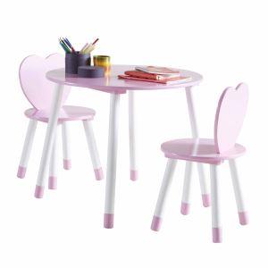 Table enfant avec 2 chaises Princess en bois